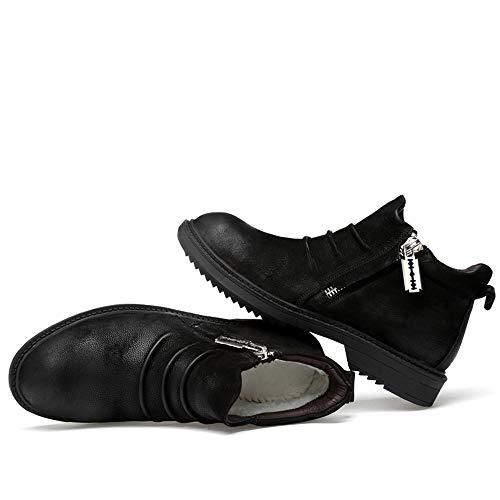 Suede boots Talons La Et Option Décontracté Pour À Hommes Avec Mode Yajie Confortable Bottines Glissière En Hauts Warm Toison Fermeture Chaussures classique Black Intérieur AxqBOOwC