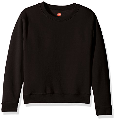 Hanes Black Crew Sweatshirt - Hanes Girls' Big Girls' Comfortsoft Ecosmart Fleece Sweatshirt, Black, L