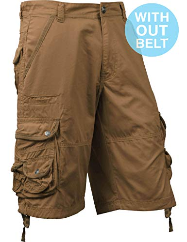 - Ma Croix Mens Premium Cargo Shorts with Belt Outdoor Twill Cotton Loose Fit Multi Pocket Pants 1SMA0001 (32, sm01_Timber)