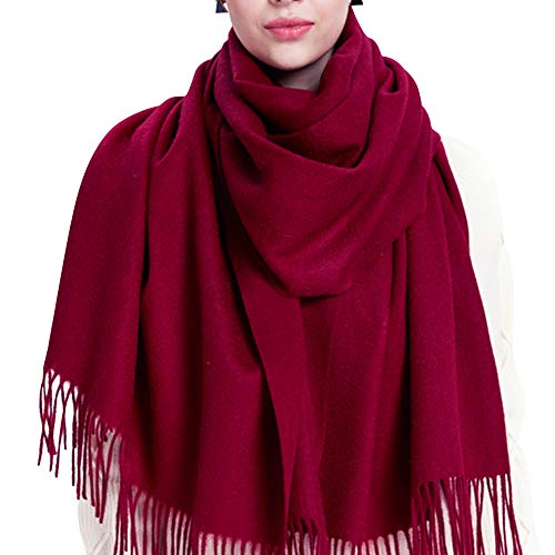 100% Lambswool Winter Scarf with Tassels for Women Oversized Scarf Wraps Wool Shawl,Wine Red,One size
