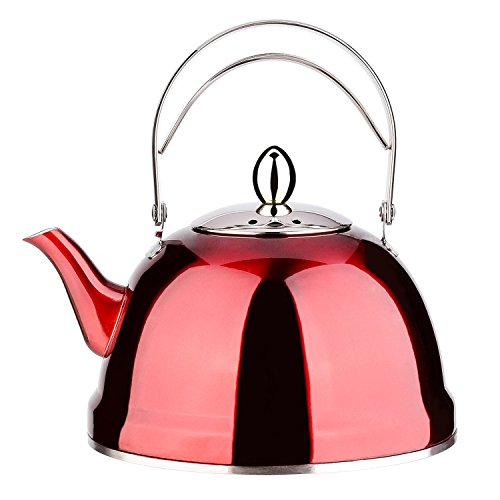 (Tea Pot with Infuser Loose Tea for Stove Top 18/8 Stainless Steel Coffee Kettle 8 Cup Quick Boil Sturdy Teapot Hot Water Mirror Finish 2 Liter / 2.1 Quart 68 Ounce Red by Onlycooker)