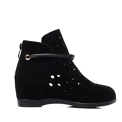 Allhqfashion Women's Blend Materials Frosted Low-Heels Boots with in Elevator Shoes Black XwrB7k1Bw