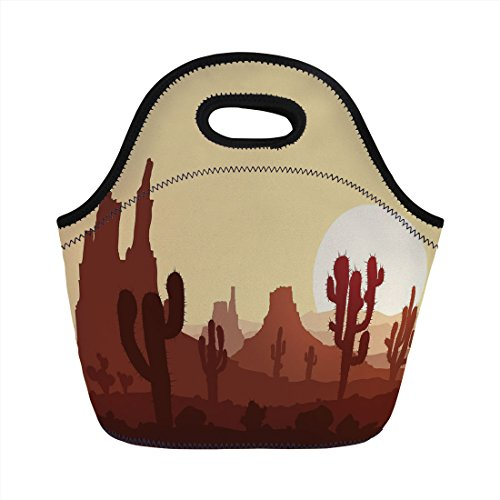 - Neoprene Lunch Bag,Cactus Decor,Arid Country Landscape with Sunset in Stone Desert Saguaro Mountains Decorative,Yellow Brown Redwood,for Kids Adult Thermal Insulated Tote Bags