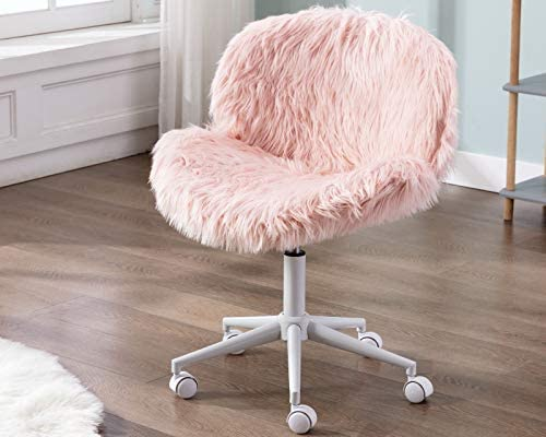 CIMOO Pink Vanity Chair Faux Fur Swivel Desk Chair Cute Fluffy Armless Office Chair Rolling Makeup Chairs