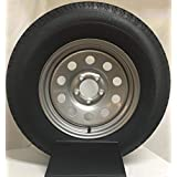"""15"""" Silver Mod Trailer Wheel with Radial ST205/75R15 Tire Mounted (5x4.5) bolt circle"""