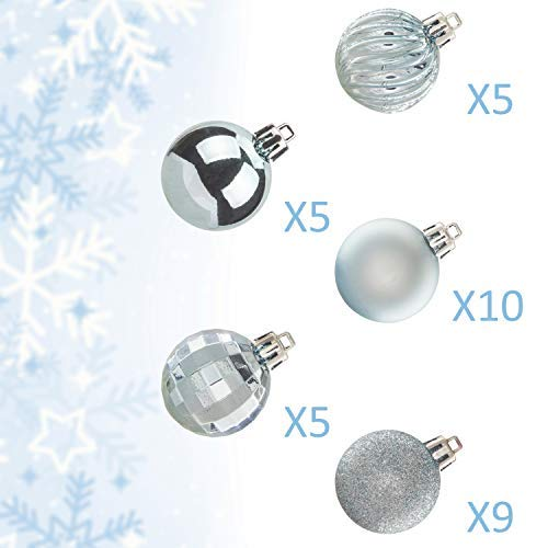 "KI Store 34ct Christmas Ball Ornaments Shatterproof Christmas Decorations Tree Balls for Holiday Wedding Party Decoration, Tree Ornaments Hooks Included 1.57"" (40mm Baby Blue)"