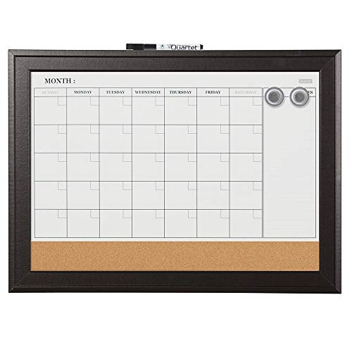 (Quartet Combination Magnetic Whiteboard Calendar & Corkboard, 17