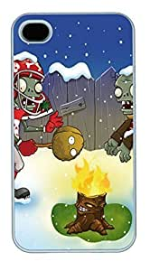 IPhone 4S Cases Christmas Plants VS Zombies Polycarbonate Hard Case Back Cover for iPhone 4/4S White