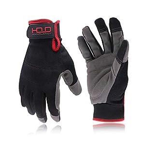 HANDLANDY Mens Utility Work Gloves, Flexible Mechanic Gloves Touch Screen,Breathable Spendex Back, Padded Knuckles…