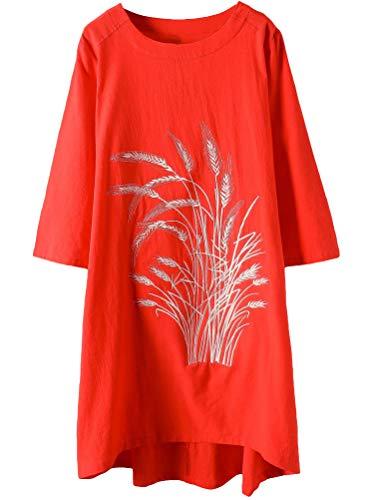 (Minibee Women's Linen Dress Tunic Blouse Pullover Flower Embroidered High Low Shirt Red XXL)