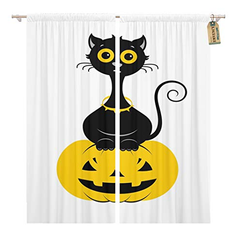 Golee Window Curtain Animal Halloween Cat in Modern Line Black Cartoon The Home Decor Rod Pocket Drapes 2 Panels Curtain 104 x 96 inches ()