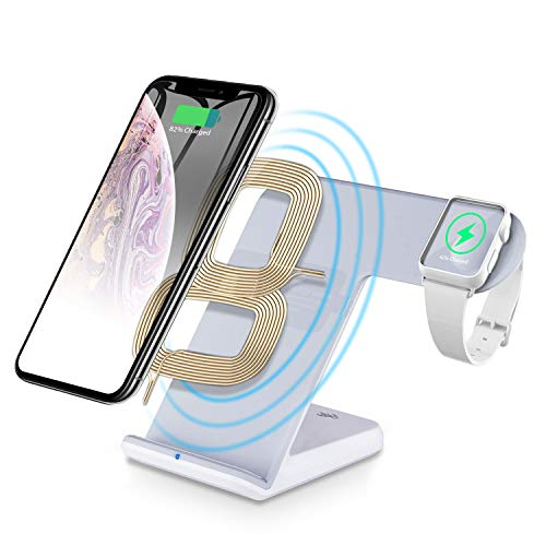 CNSL 2 in 1 Wireless Fast Charging Station Pad, Portable Charger Stand Dock for iWatch Series 1/2/3/4 iPhone 8/X/XS/XR, Samsung Galaxy and All Qi Enabled Devices