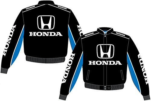 Men's Honda Logos Racing Style Black-Royal Blue Cotton Twill Snap-Up Jacket (2X)