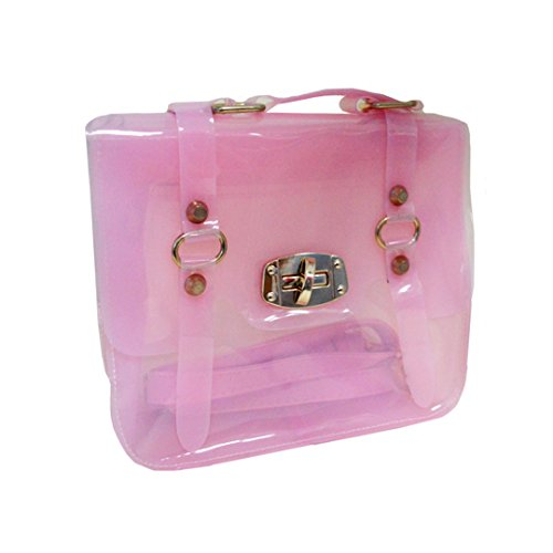 Mily Newest Women Girls Mini Transparent Candy Color Jelly Shoulder Bag Tote Clear Beach Swim Handbag Chain Purse with Zipped Closure and Chain Pink (Candy Color Jelly Bag compare prices)