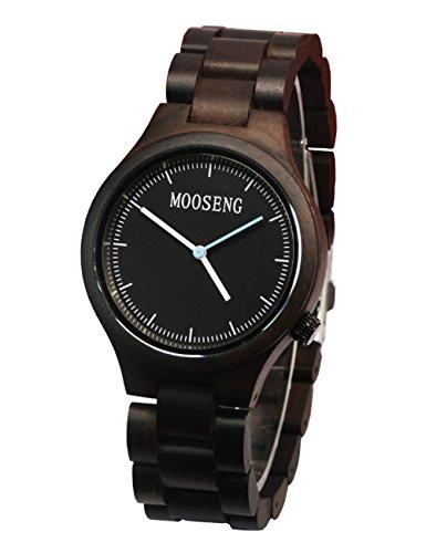 Price comparison product image Suwikeke band-cs-J Mooseng Wooden Watch For Men's Women Black Sandalwood All Wooden Wristwatch Creative Gift