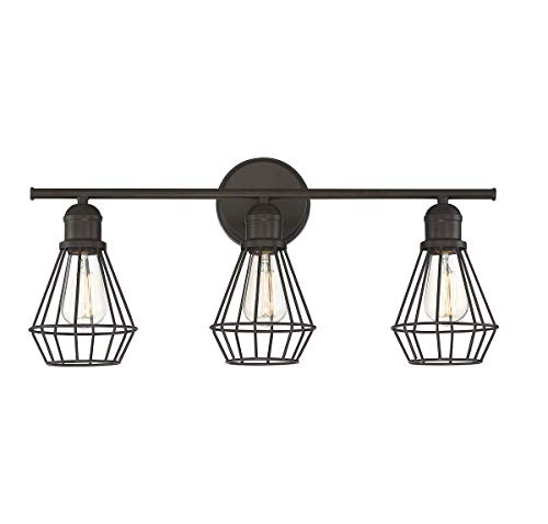 (Trade Winds Lighting TW80021ORB Industrial Retro 3 Light Bath Wall Vanity Wire Cage Fixture in Oil Rubbed Bronze)