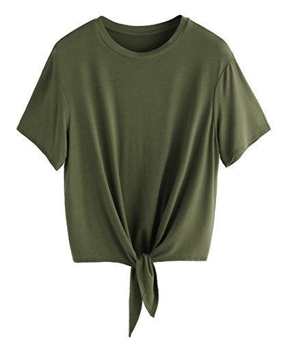 Romwe Women's Short Sleeve Tie Front Knot Casual Loose Fit Tee T-Shirt Army Green S ()