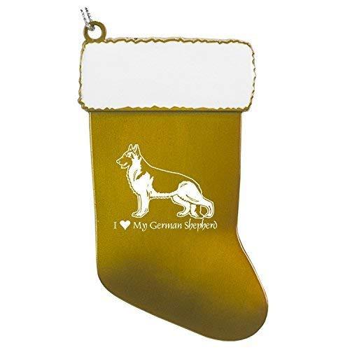 - Pewter Christmas Stocking Ornament-I love my German Shepherd-Gold