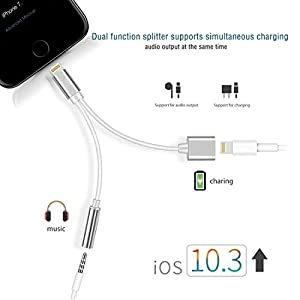 2 in 1 Lightning Adapter for iPhone 7 / 7 Plus,Lightning to 3.5mm Aux Headphone Jack Charger Adapter iPhone 7 / 7 Plus Adapter-Sliver