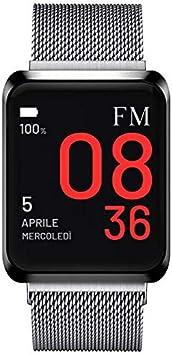 Florence Marlen | Italian Design | Smartwatch Hombre-Mujer FM1S Amalfi Correa de Malla Milanese Plata|Bluetooth Pantalla táctil Impermeable|Cardiofrecuencímetro, iOS y Android, Reloji Inteligente