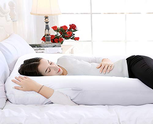 QUEEN ROSE 55in Pregnancy Pillow- U Shaped Body Pillow for Back Support with Cotton Cover (Pure White)
