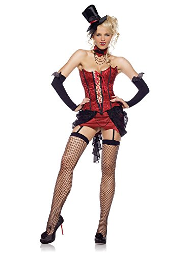 Leg Avenue Women's 4 Piece Vampire With Corset Skirt With Garters And Mini Hat, Red, (4 Piece Vampire Costumes)