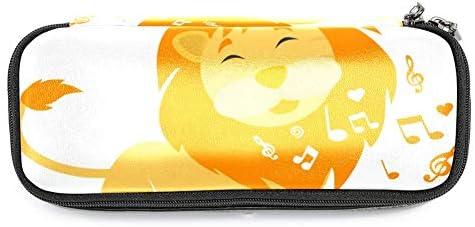 Singender Löwe Leder Federmäppchen wasserdicht große Kapazität Stift Tasche langlebig Stifthalter Veranstalter Tasche stationäre Box für Jungen Mädchen 19x7.5x3.8cm