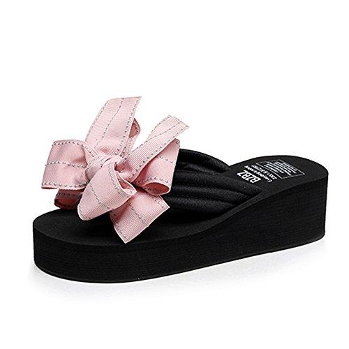 Toe Romanos Verano Pink Pantuflas Feifei Color 5CM Bohemia Inferiores Zapatos Sandalias UK6 para Negro Clip con Zapatos Tamaño de Mujer Antideslizantes Cómodos Dulces Playa CN39 EU39 Pajarita qwUZxXF