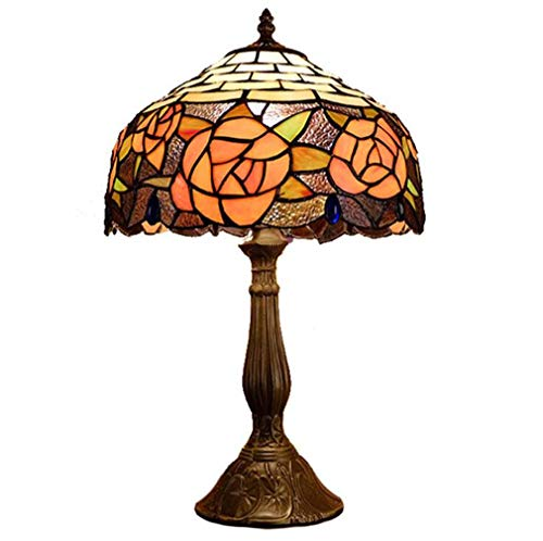 (12-Inch Vintage Tiffany Styled Table Lamp, Stained Glass Yellow Peony Pattern Lampshade Alloy Base Desk Lamp for Restaurant Bar, 110-240V/E27,E26×1)