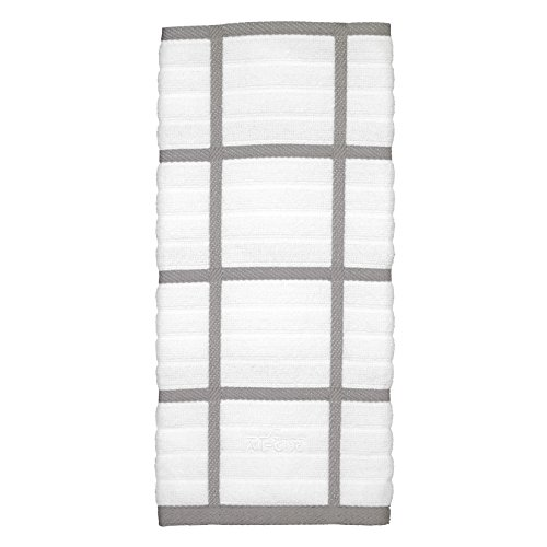All-Clad Textiles 100-Percent Combed Terry Loop Cotton Kitchen Towel, Oversized, Highly Absorbent and Anti-Microbial, 17-inch by 30-inch, Checked, Titanium