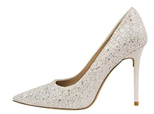M Pointed Heel Pumps Sequins 35 Shoes US 4 Womens Toe B Party Cloudless Wedding Women Pumps White High ZxCRwnI5Iq