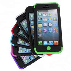 3 in 1 Colorful Heavy Duty Hybrid Rugged Hard Case For iPhone 5C --- Color:Rose Red