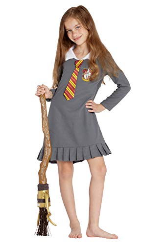 Intimo Harry Potter Pajama Girls' Hermione Gryffindor Uniform with Tie Fleece Nightgown Costume (L, 10/12) -