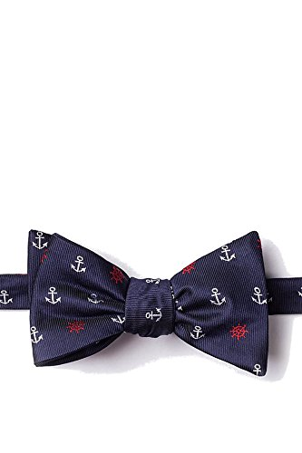 Men's Nautical Anchors & Ships Wheels Butterfly Bow Tie Neckwear (Navy Blue)