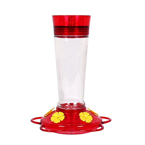 More Birds Hummingbird Feeder, Glass Bird Feeders, Red, 5 Feeding Stations, 10-Ounce Nectar Capacity, (Humming Feeder)