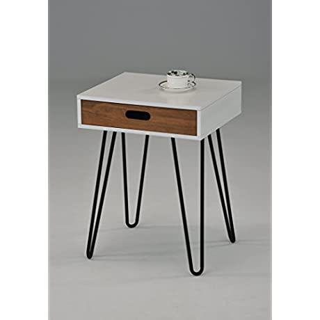 White Dark Oak Side End Table Nighstand Black Metal Legs With One Drawer 24 H Mid Century Style