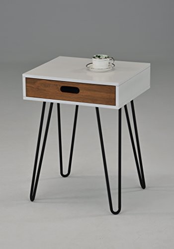White / Dark Oak Side End Table Nighstand Black Metal Legs with One Drawer 24″H – Mid-Century Style Review