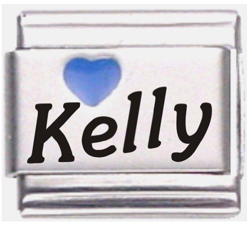 - Kelly Dark Blue Heart Laser Name Italian Charm Link