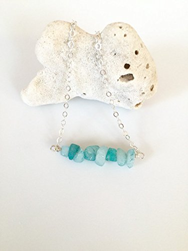 (JP_Beads Amazonite Bar Necklace, Aqua Amazonite Nuggets, Minimalist Bar, Layering Necklace, Semi-Precious Gemstones, Sterling Silver, 14K Gold Fill 3-5mm)