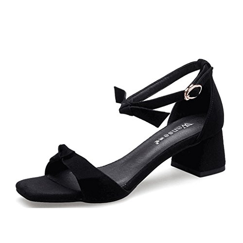 Heel 37 Black Fashion Sweet Summer Lady Size Color Thick Sandals Black Heels High Elegant Open Toe xax46fI