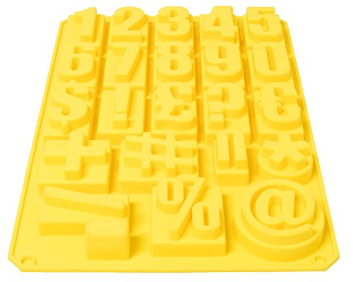 Royal Brands Silicone Mold Numbers and Letters (Lowercase Uppercase) Alphabet Symbols Tray, for Candy Cake Ice Fondant Chocolate Baking, Candles Soap Making Tool (Yellow, Numbers)