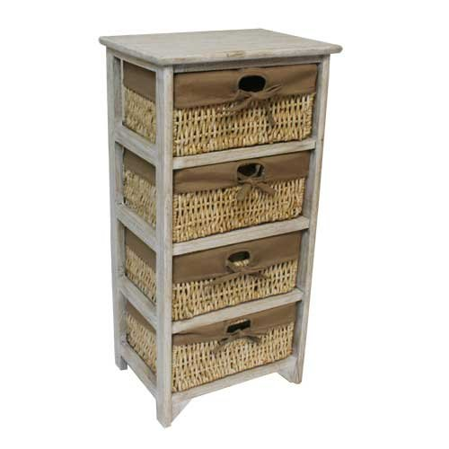 JVL 3 Drawer Wood Unit with Lined Maize Drawers, Earth, 38 x 27.5 x 59 cm 17-045