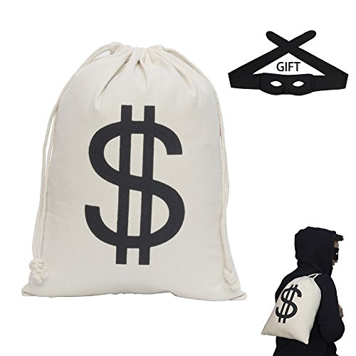 IYOHEE Dollar Sign Money Bag 16 x 12 inch Drawstring Pouch Bandit Robber Thief Cosplay Props with Gift Black Eye Mask