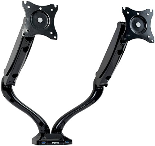 VIVO Dual LCD Monitor Height Adjustable Desk Mount Stand Bla