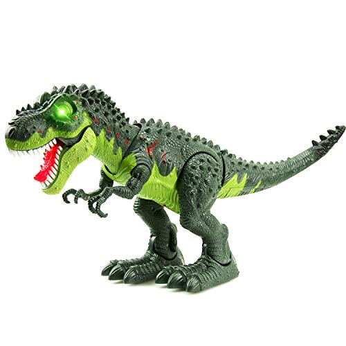 Operated Electronic - WonderPlay Walking Dinosaur T-Rex Toy Figure with Lights and Sounds Realistic Tyrannosaurus Dinosaur Toys for Kids Battery Operated Green