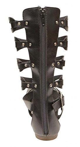 Bella Marie Glad-1K Kids gladiator buckled ankle strap zip closure knee PU sandal boots Black 4
