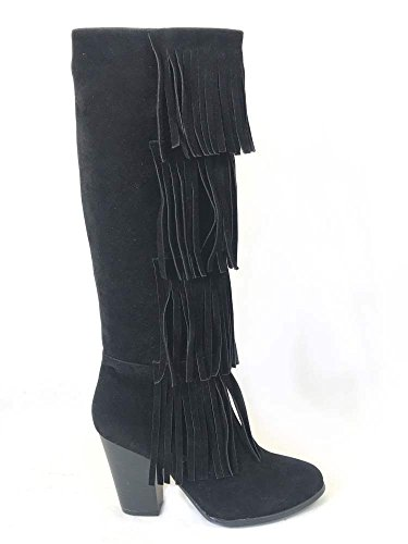 LADIES WOMENS FRINGE BOOTS KNEE HIGH HEELS ZIP FAUX SUEDE LEATHER SHOES SIZE 3 4 5 6 7 8 Black (404)