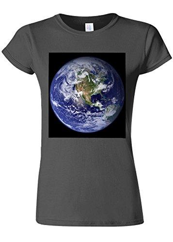 本当に不運ペフEarth World from Moon Funny Novelty Charcoal Women T Shirt Top-XL