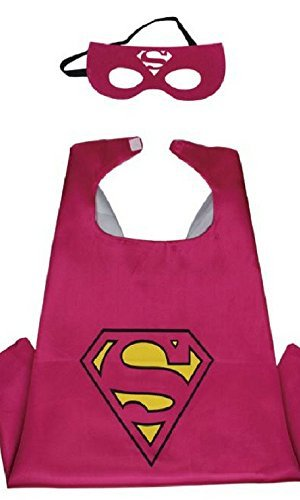 Honey Badger Brands Dress Up Comics Cartoon Superhero Costume with Satin Cape and Matching Felt Mask, Super Girl, Pink