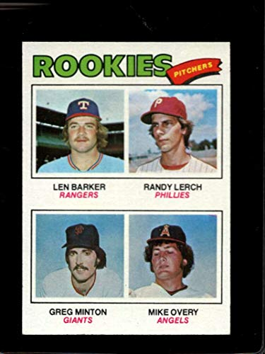1977 TOPPS #489 LEN BARKER/RANDY LERCH/GREG MINTON/MIKE OVERY ROOKIE PITCHERS EXMT RC ROOKIE NICELY - Pitcher Minton